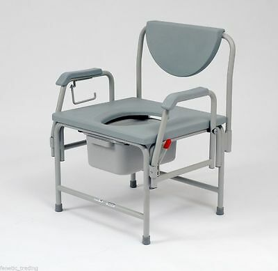 Bariatric Heavy Duty Commode toilet drop arms extra wide seat 50st user weight