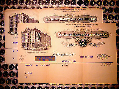 Vancamp Hardware & Iron Company - Invoices (2X) - Indianapolis - Sept 1897