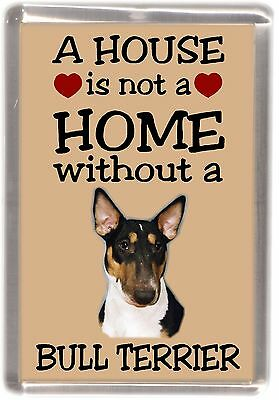 "Bull Terrier Coloured Dog Fridge Magnet ""A HOUSE IS NOT A HOME"" by Starprint"