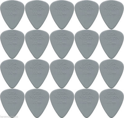 "20 x Jim Dunlop Nylon Standard ""Greys"" .60MM Gauge Guitar Picks *NEW* Bulk"