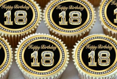 24 X Black 18Th Happy Birthday  Edible Cupcake Toppers In Premium Rice Paper 179
