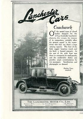1926 Lanchester Motor Company Coachwork Car Ad Dulop Tyres Coupe Dickey Seat