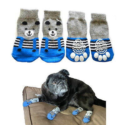 Dog Non-Slip Socks S M L XL 2XL 3XL 4XL 5XL Blue Bear - Pet Shoes Paw Protection