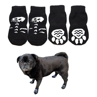 Dog Socks Non-Slip S M L XL Black Skeleton - Pet Puppy Cat Clothes Skull Paw