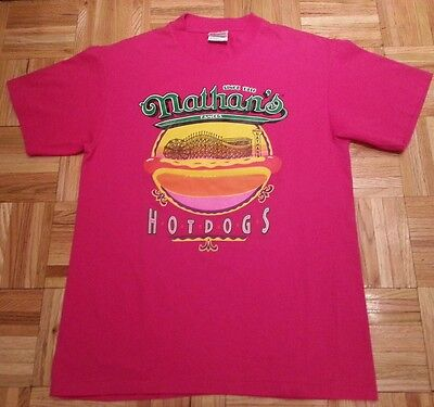 M VINTAGE NATHAN'S FAMOUS CONEY ISLAND HOT DOGS T-SHIRT HOT PINK WORN ONCE COND.