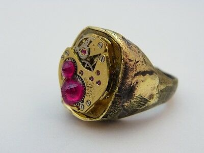 """STEAMPUNK,Handmade""""Brass Crude Flat Top"""",Solid Brass,One of a Kind! RING,21,L@@K"""