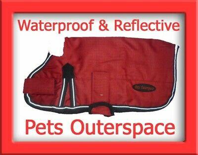 Reflective Waterproof Red Dog Rug Coat Jacket Med to Large 40, 45, 50, 55cm Rain