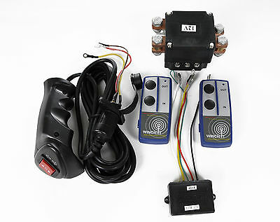 12V EXTRA HEAVY DUTY 500amp WINCH SOLENOID & TWIN WIRELESS REMOTE + WIRED REMOTE