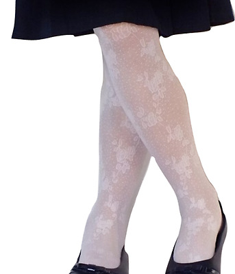 COUNTRY KIDS Girls Spring Floral Lace Footed Tights Ages 1 to 8 White Ivory CUTE