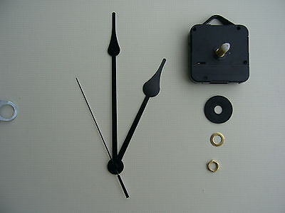 High Torque Clock Movement   Long Spindle 6 Inch Black French Spade Hands