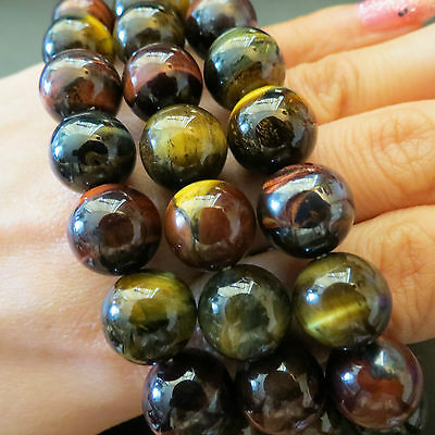 12mm Red Blue Yellow  3 Color Tiger Eye Round Beads Healing Stone Bracelet