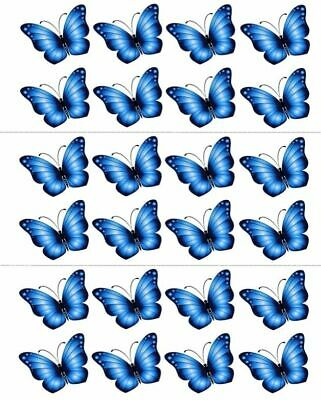 24 X Blue Butterfly Edible Cupcake Toppers Premium Rice Paper 2502