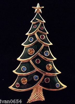 Signed Swan Swarovski Gold Plated Green Decorated Christmas Tree Brooch Pin