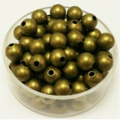 Vintage Brass 6 Mm Round Beads  25 Pcs.  (Solid Brass) Bsb7Ab