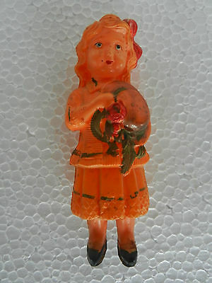 Vintage Girl With Hat In Hand Celluloid Figure Toy, Japan