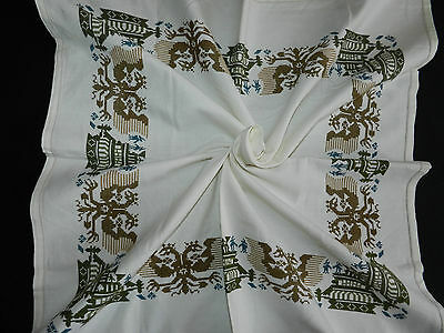 """Lovely vintage hand embroidered tablecloth. Dimensions  33""""/34""""  n2767"""