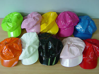 60s 70s Dance Costume Vinyl Hat Cap Assorted Colours