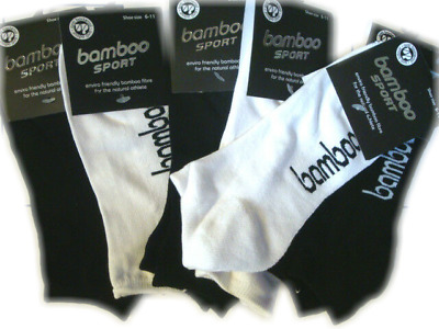 6 prs Mens Bamboo Sport Socks Ankle Sports Cushion Foot size 6-11 Black & White