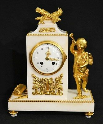 Antique French White Marble Ormolu Mantel Clock c.1850