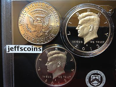 2015 S Kennedy Half Dollar 90% Silver Proof Clad Proof P / D 3 Set Uncirculated