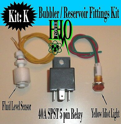 Float Switch, Yellow Idiot Light, 12v DC, 40A Relay, HHO Bubbler, Reservoir Tank