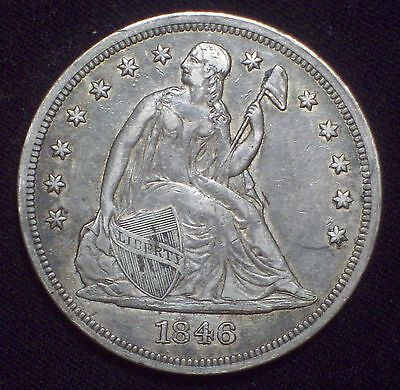 1846 Seated Liberty SILVER DOLLAR Strong XF+ Detail  *RARE Authentic US Coin*