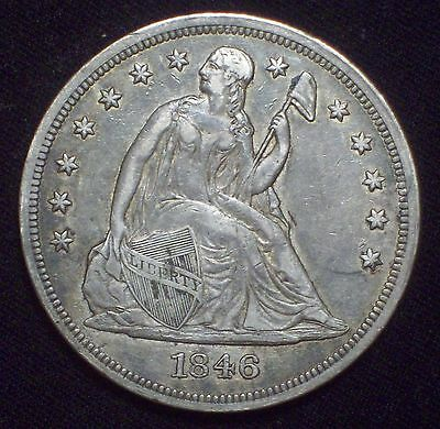 1846 Seated Liberty SILVER DOLLAR Strong XF+ Detailing RARE Authentic US Coin $1