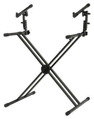 Professional Double Braced Two Tier X Keyboard Stage Piano Stand Foldable Steel