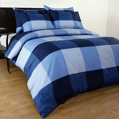 Single/Double/Queen/King/Super King Size Bed Quilt/Duvet Cover Set-Blue Check
