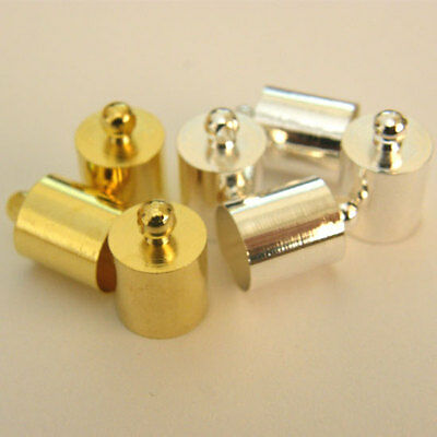 24 SILVER OR GOLD Plated Necklace Cord End Tip Caps 8x12mm C35/S/G