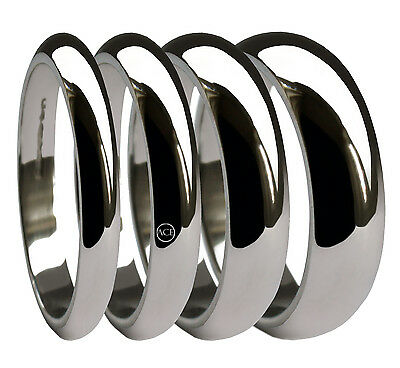 950 Platinum Wedding Rings X Heavy D Profile Bands 2mm, 3mm, 4mm, 5mm, 6mm UK HM