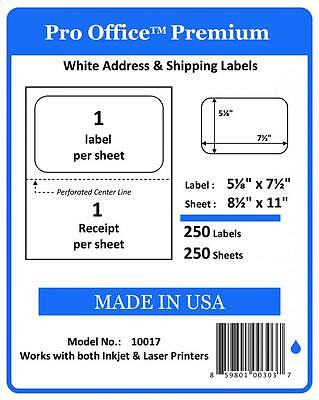 PO17 4K Sheets/4000 Labels Pro Office SelfAdhesive shipping Label with Tear Off
