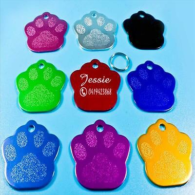 Personalised Customised Name ID Free Engraved Paw Dog Tag Puppy Cat Pet Tags