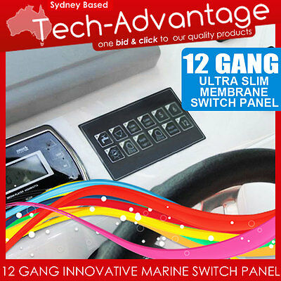 12V 12 Gang Led Switch Panel Waterproof Slim Touch Control Panel - Boat/caravan