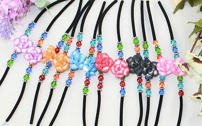 12PCS Mix colour polymer clay Lotus bracelets #21603 FREE SHIP