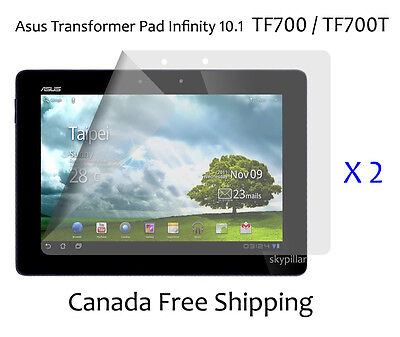 2 Clear Glossy Front Screen Protector Cover Asus Transformer Pad Infinity TF700