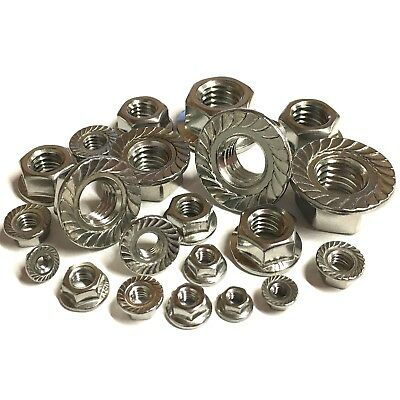 A2 Stainless Serrated Flange Nuts - M3 M4 M5 M6 M8 M10 M12 - Flanged DIN 6923