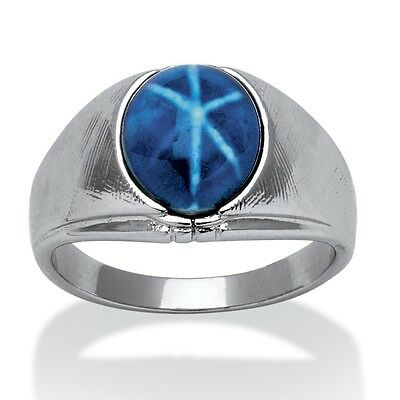 Men's Oval-Shaped Simulated Blue Star Silvertone Metal Ring