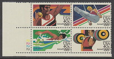 U.S.A. 1983 AIR. Olympic Games (1st issue) (4v) - Plate Block of 4 UM / MNH