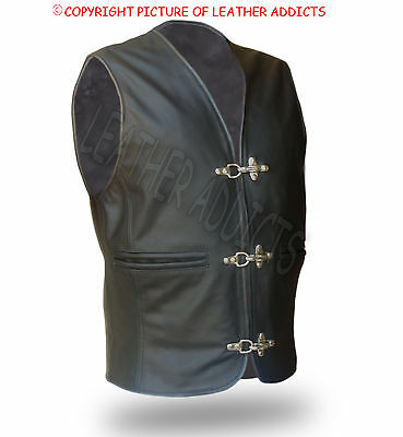 Men Biker Vest Genuine Black Cow Leather Waistcoat Jacket with Chrome Hooks