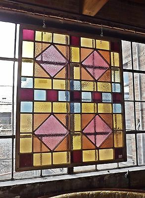 "Extra Large Farmhouse Stained Glass in Reds and Greens. 71"" x 60""! #7101"