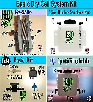 HHO Basic Dry Cell System Kit Bubbler Scrubber Reservoir/ Electrical Components