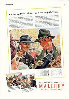 1939 Mallory Mens Hats Ad Fifth Avenue New York Colorful Picnic Pipe