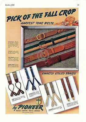 1939 Harvest Tone Belts Braces Garters Buckles Pioneer Ad Great Color