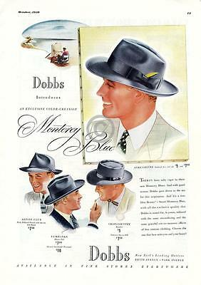 1939 Dobbs Hats Ad Monterey Blue Fairbanks New York Colorful Smoking