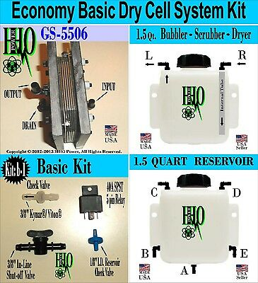 HHO Economy Basic Dry Cell Kit Bubbler Scrubber Reservoir/ Electrical Components