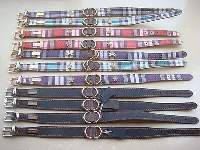 "Promotion! 12pcs x New dog pets top genuine leather gift collar 15""-18"" Medium"