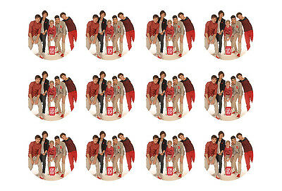 """ONE DIRECTION CUPCAKE TOPPERS 12 x 2"""" CIRCLE EDIBLE ICING PARTY DECORATION IMAGE"""