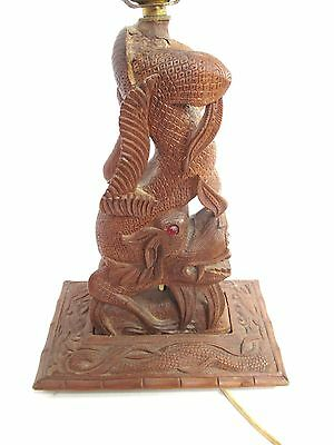 Unusual Antique Asian Figural Wooden Dragon Lamp Light w/ Glass Eyes Chinese