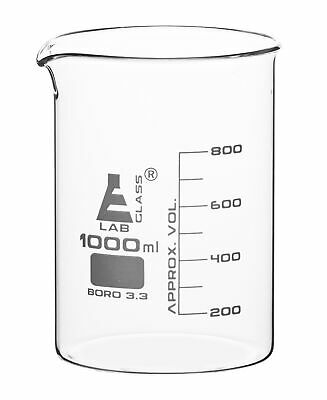 Low Form Beaker, Borosilicate - Graduated, 1000mL Capacity